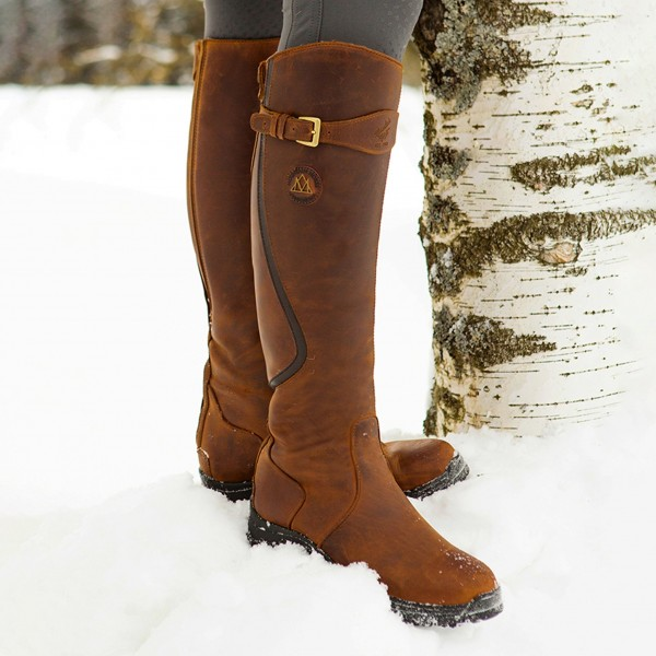 Mountain Horse Snowy River Riding Boot for Equestrian and horse riding brown boots product image in the snow