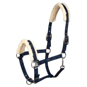 hv polo faux fur lined headcollar navy